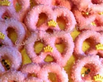 12CT. Pink Princess chocolate covered pretzel twists with gold crown. Princess/Prince pretzel favors.