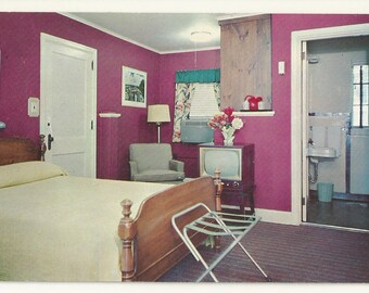 1950s Chrome Postcard- Interior View of White City Court Motel, Knoxville, Knox County, Tennessee, TN. ~ Free Shipping
