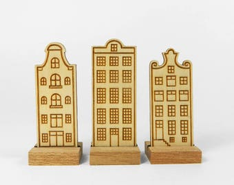 Wooden decoration: Set of 3 Dutch canal houses, The mansions