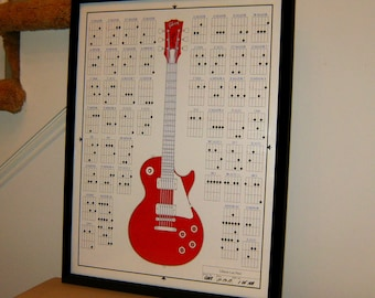"""Gibson Les Paul, Electric Guitar, Music, POSTER from Original Drawing 18"""" x 24"""" Signed & Dated by Artist w/COA 1"""