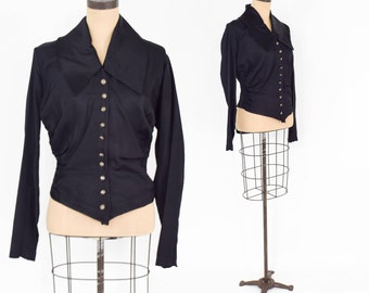 1800s Black Silk Blouse | Antique Overblouse | Medium