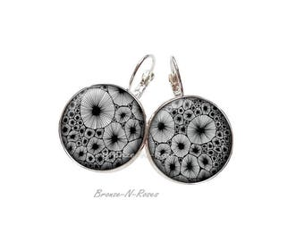 Earrings * hatching * cabochon gift silver black and white glass earrings