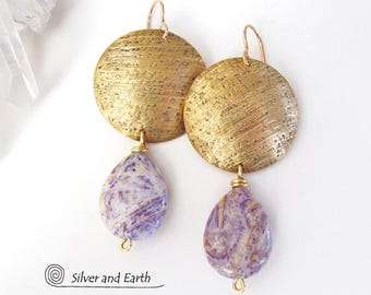 Charoite Earrings, Brass Earrings, Purple Stone Earrings, Natural Gemstone Jewelry, Purple & Gold Earrings, Artisan Metalwork Jewelry