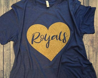 Kansas City Royals Heart T-Shirt - GLITTER!!