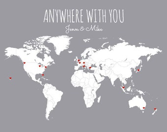 Personalized Wedding Gift for Husband or Wife, Anywhere With You Couples Gift for Boyfriend/ Girlfriend, World Travel DIY Map Art Print