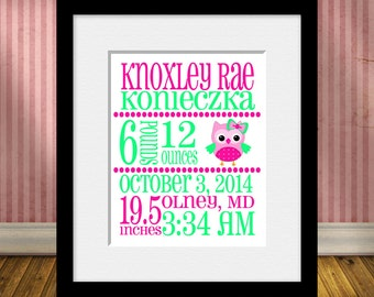 Birth Statistics Print, New Baby Gift, Birth Announcement Print,  Baptism Gift, Christening Gift, Owl Nursery Decor, Baby Girl Gift