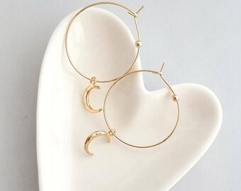 Crescent Moon Hoop Earrings,Gold Crescent Moon Hoop Earrings,Moon Hoop Earrings,Hoop Earrings,Gold Hoop Earrings,Hammer Moon Hoop Earrings