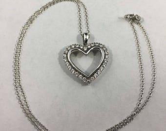 Vintage Sterling Silver CZ Heart Necklace