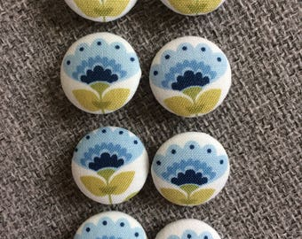 Tilda Molly Blue Fabric covered handmade buttons - 8 pieces of 22mm buttons