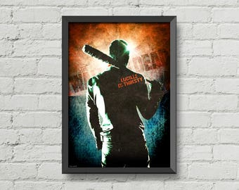 Negan poster,digital print,movie poster,wall art,man cave,wall decor,walking dead,zombies,horror poster,retro look,lucille