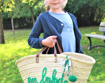 Basket for the beach, market, everyday decor. Patterns for all ages.  Customization in knitting, hand stitched.