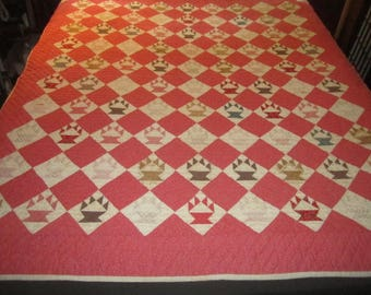 Antique 19c Beautiful Basket Signed Quilt from Iowa Estate