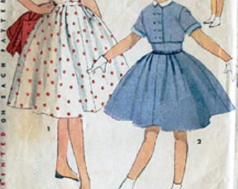 1950's Simplicity 4621 Girls Pretty One-Piece Dress And Short Double-Breasted Jacket Pattern, Size 8, UNCUT
