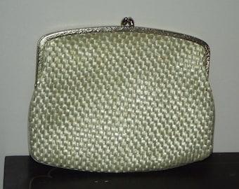 Vintage woven Straw or Raffia Small Clutch Purse Off White