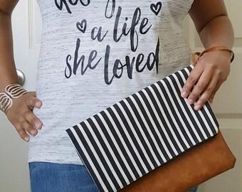 Black White Striped Clutch Bag, Striped Clutch Purse, Faux Leather Clutch, Large Clutch, Leather Clutch, Wristlet Clutch, Purse, Gift Idea