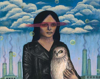 Woman and Owl Portrait Acrylic Painting Original