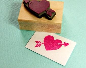 Heart and Arrow Rubber Stamp - Wedding Stamper - DIY Wedding - Valentines - Wedding Invite - Cupid Arrow - Kitsch Wedding - Wedding Gift