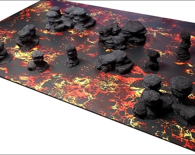"Wargame Terrain - Spires & Plateaus - ""Ash"" Deluxe Bundle terrain set - 10 pieces - CUSTOMIZABLE"