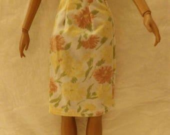 Fashion Doll Coordinates - Orange floral skirt - es433