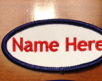Custom Embroidery( Personalized) Embroidered Name Tag Patch white/Royal  Blue Border Oval 3.25