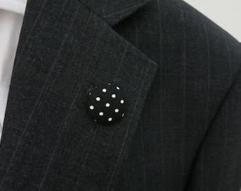 Black/White Polka Dots Lapel Button - Men's Lapel Pin - Tie Tack - Buttonhole