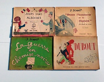 Set of 4 albums caricatures of 1945 and 1949