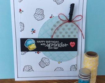 Handmade blue cupcake birthday card