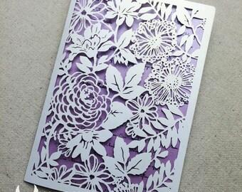 100 Sets Wedding Invitations,Purple Wedding Invitations,Purple Laser Cut Wedding Invitation,Purple Laser Cut Flower Wedding Invitations