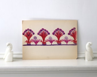 Nursery Art Vintage Hand Painted Border Design c. 1920s - 1930s Elmo Anderson 14 x 10 inches