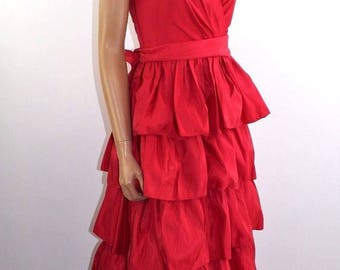 Vintage 80's Retro Tiered Red Formal Ball Gown Cocktail Prom Dress  Size XS