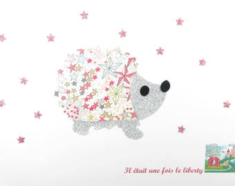 Applied fusing liberty Hedgehog fabric liberty Adelajda pink and silver glitter fabric applique patch iron on, hedgehog, iron
