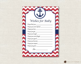 Nautical Wishes for Baby - Wishes for Baby Card, Well Wishes for Baby, Nautical Baby Wishes, Beach, Baby Shower Wishes for Baby - DIY