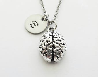 Brain Necklace, Pewter Charm, Neurologist, Neurology, Doctor, Medical Student, Silver Initial, Personalized, Monogram, Hand Stamped Letter