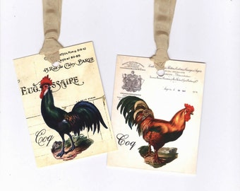 French Farmhouse Tags , French Rooster Gift Tags , Country Chic , Shabby Roosters , Vintage Style by Bluebird Lane