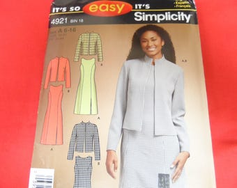 Simplicity 4921 It's So Easy Misses or Petite Dress or Jumper and Lined Jacket Pattern Size 6-16 Uncut