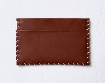 Saddle Brown Whipstitch Leather Card Case