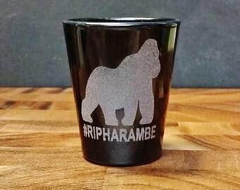 RIP Harambe Shot Glass - #RIPHarambe - Shots for Harambe Memorial - Harambe Etched Shot Glass - Gorilla