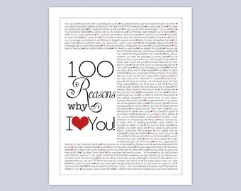 100 Things I Love About You!  Custom Digital Download 8x10 or 11x14