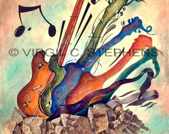 Guitar art, Morph, giclee print from the original oil painting of music, musical instruments, guitars, guitar painting
