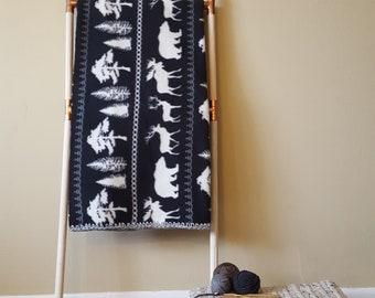 Black And White Fleece Woodland Blanket, Throw Blanket, Fleece Blanket