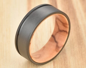 Olive Mens Wedding Ring Black Tungsten Wood Ring Lined with Olive Wood  Mens Wedding Band