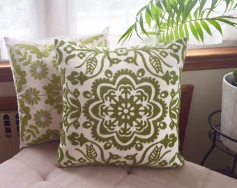 "Green Embroidery Floral cover pillow, home accent, Sofa Pillow Case Throw, Pillow Cover for 18X18"" Inserts"