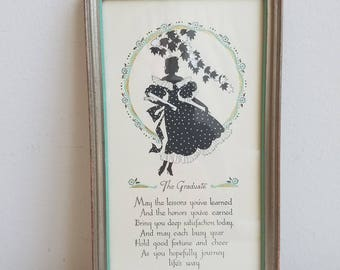 """Vintage Silhouette Wall Art Print Buzza Motto """"The Graduate"""" in Silver Wood Frame by The Buzza Company Craftacres, Graduation Gift"""