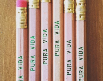PURA VIDA Natural Wood Pencil 6 Pack - costa rica inspired gift ideas, pure life, motivational cool pencils, high end pencils, made in usa