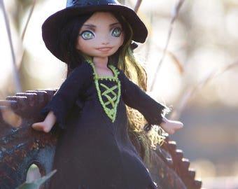 Miniature witch doll, porcelain bjd in a Halloween costume,  Meka 34/50 handmade artdoll by ladymeow