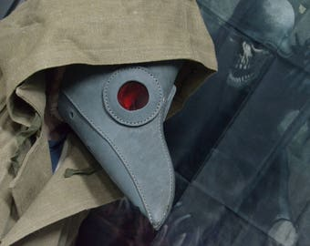 Gray leather plague doctor mask, handmade in Russia