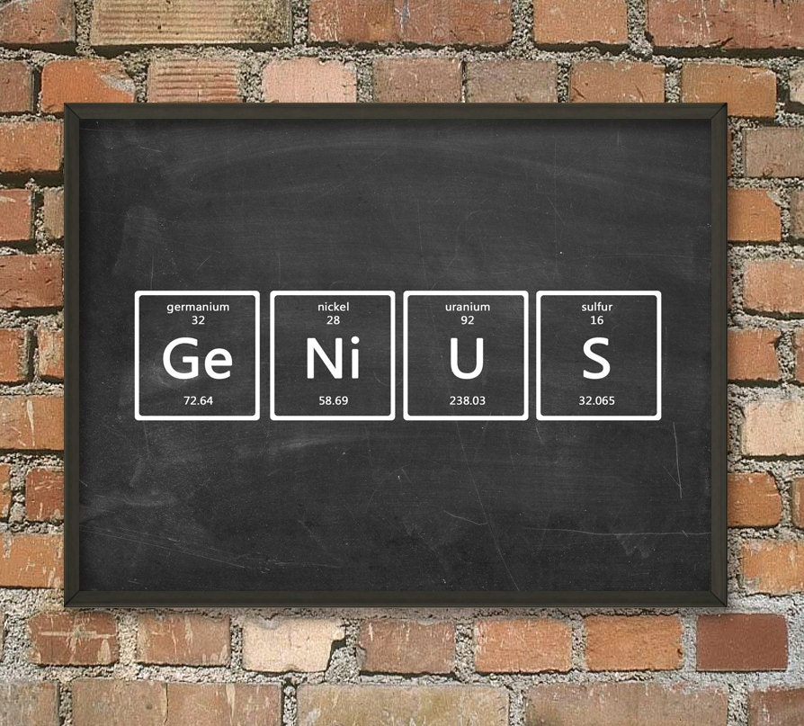Genius wall art poster periodic table of elements art zoom urtaz Images