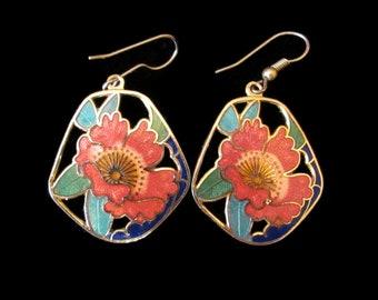 Beautiful Vintage Cloisonne Enamel Poppy Pierced Drop Earrings
