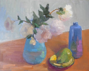 "Impressionist Still Life Painting, Original oil painting, flowers, fruit, 14x18x1.5"" by CarolSchiffStudio,"