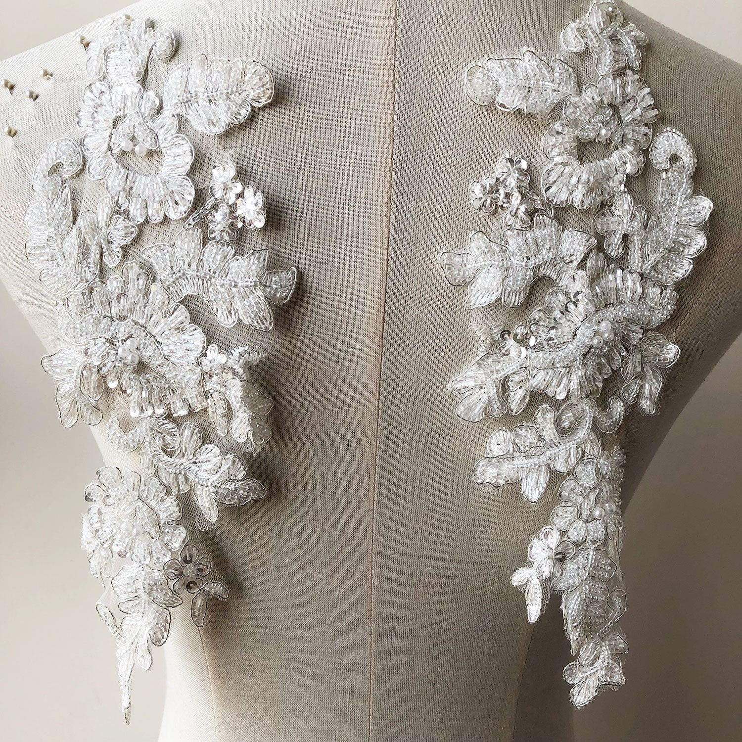 OFF-White Sequined Lace Applique Beading Lace Appliques Silver ... a58599b269ce